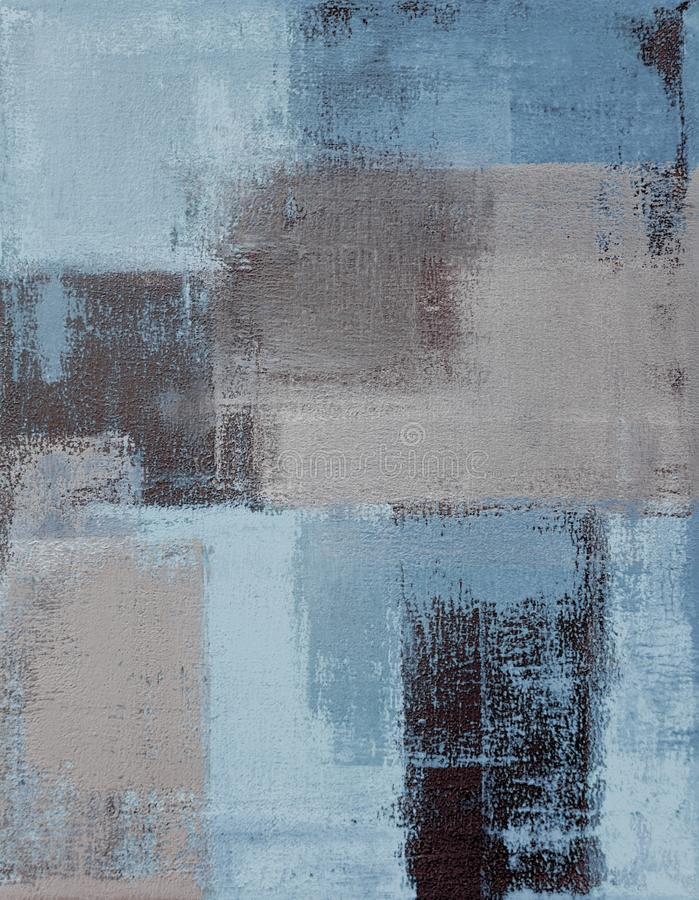 Blauw en Beige Abstract Art Painting stock illustratie