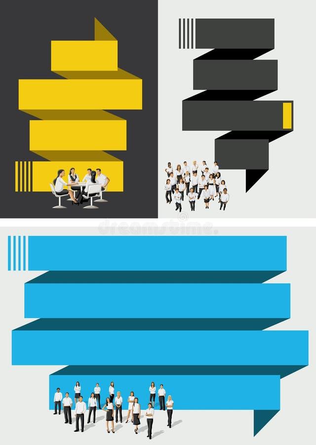 Download Blauw En Geel Malplaatje Met Bedrijfsmensen Vector Illustratie - Illustratie bestaande uit collectief, kleurrijk: 54086035