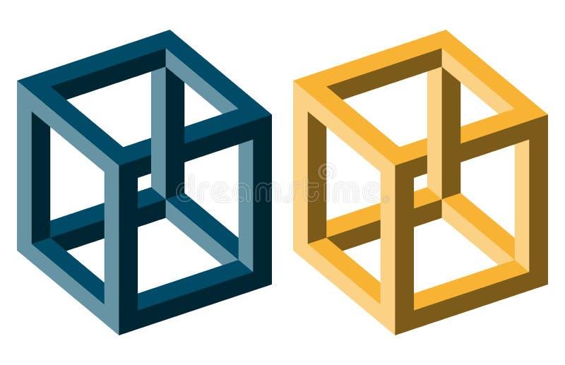 blauw en gele optische illusie stock illustratie