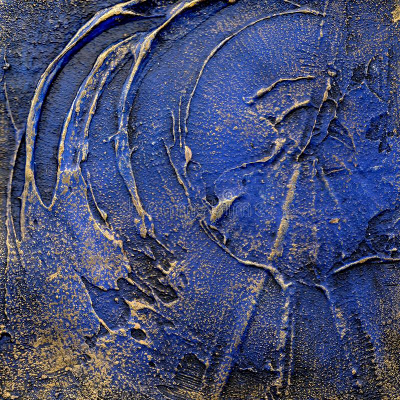 Blauw en goud in reliëf gemaakte pleisterachtergrond vector illustratie