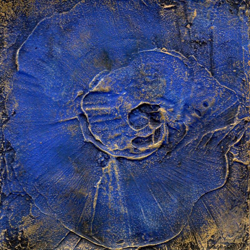 Blauw en goud in reliëf gemaakte pleisterachtergrond stock illustratie