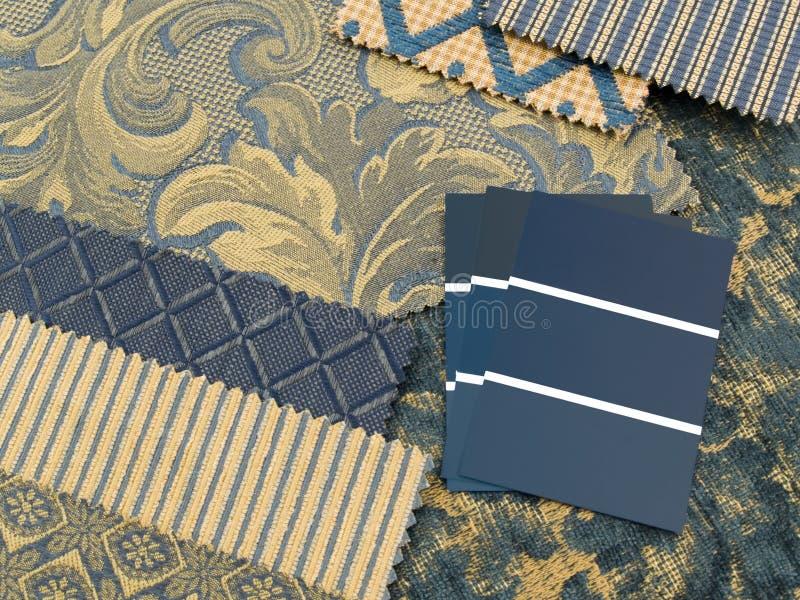 Blauw en gouden af:drukken binnenhuisarchitectuurplan stock afbeeldingen