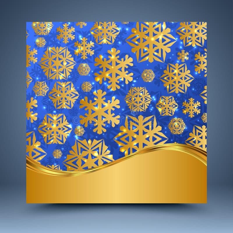 Blauw en gouden malplaatje vector illustratie