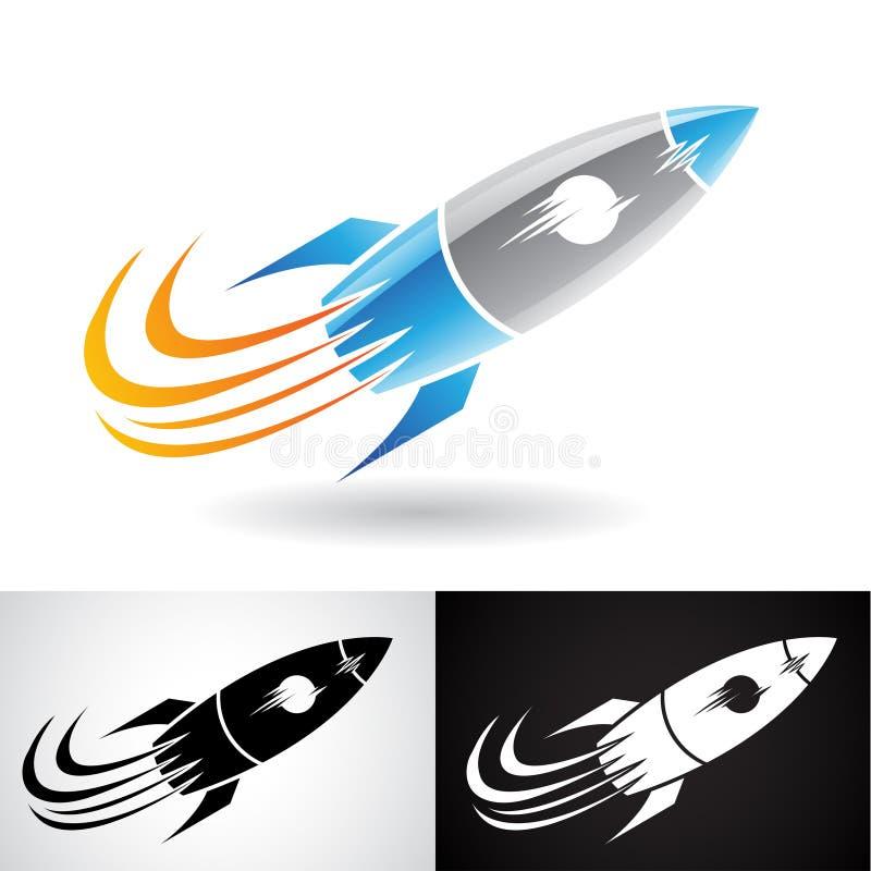 Blauw en Grey Rocket Icon vector illustratie