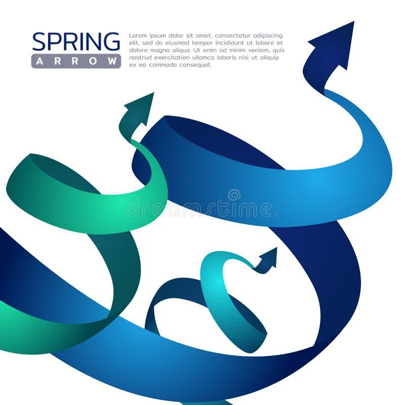 Blauw en groen abstract het teken vectorontwerp van de de Lentepijl vector illustratie
