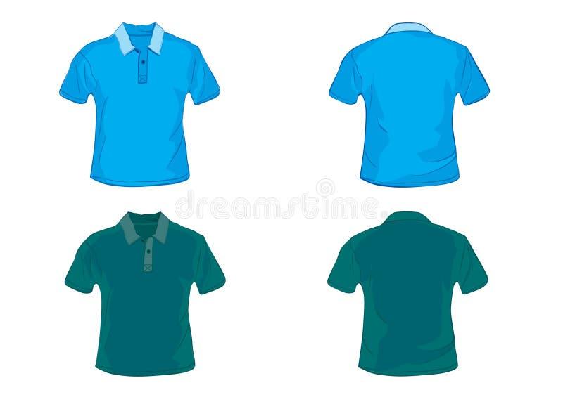 Blauw en groen polooverhemd royalty-vrije illustratie