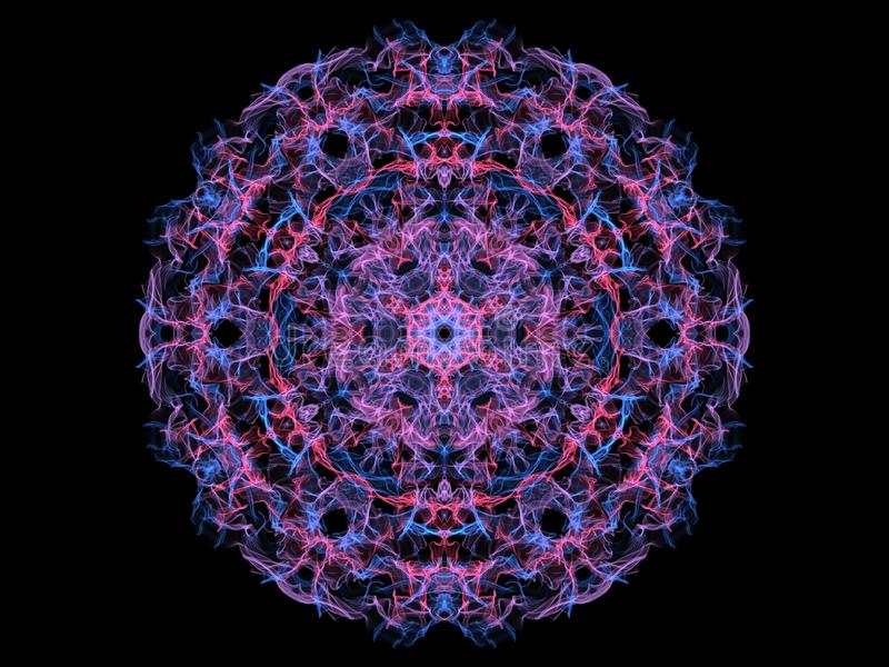 Blauw en mandalasneeuwvlok van de koraal abstracte vlam, sier bloemen rond patroon op zwarte achtergrond Yogathema stock illustratie