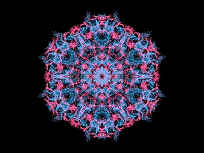 Blauw en mandalasneeuwvlok van de koraal abstracte vlam, sier bloemen rond patroon op zwarte achtergrond Yogathema vector illustratie