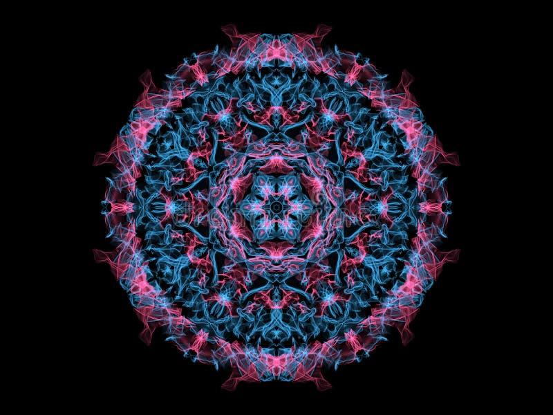 Blauw en mandalasneeuwvlok van de koraal abstracte vlam, sier bloemen rond patroon op zwarte achtergrond Yogathema royalty-vrije illustratie