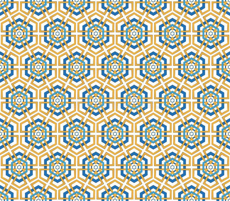 Blauw en oranje kleuren hexagonaal patroon royalty-vrije illustratie
