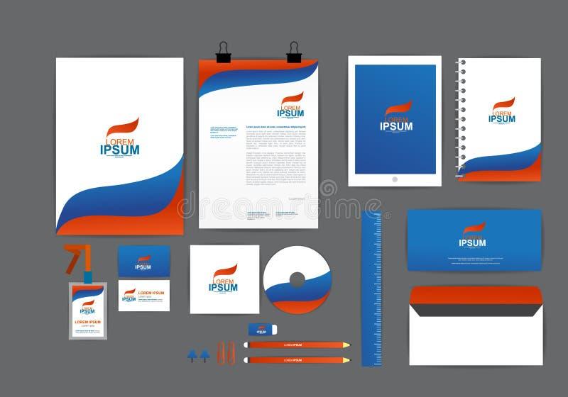 Blauw en oranje met malplaatje van de golf het collectieve identiteit royalty-vrije stock afbeeldingen