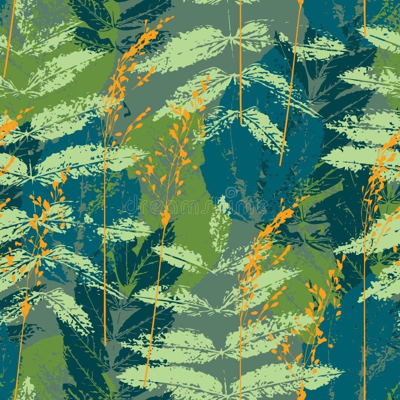 Blauw en oranje naadloos bladerenpatroon royalty-vrije illustratie