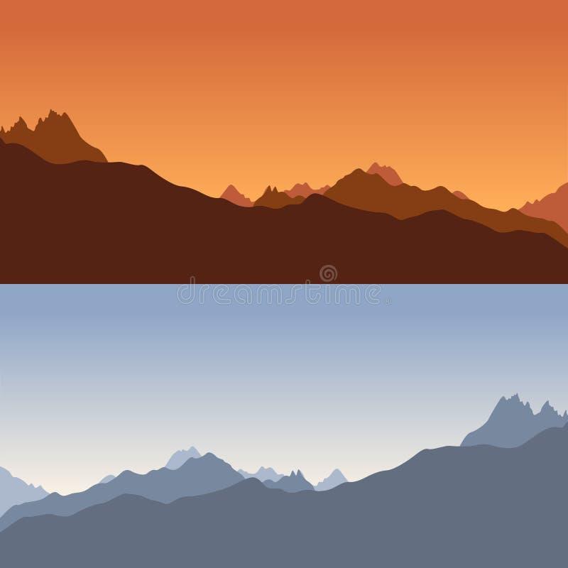 Blauw en oranje silhoet van bergen royalty-vrije illustratie