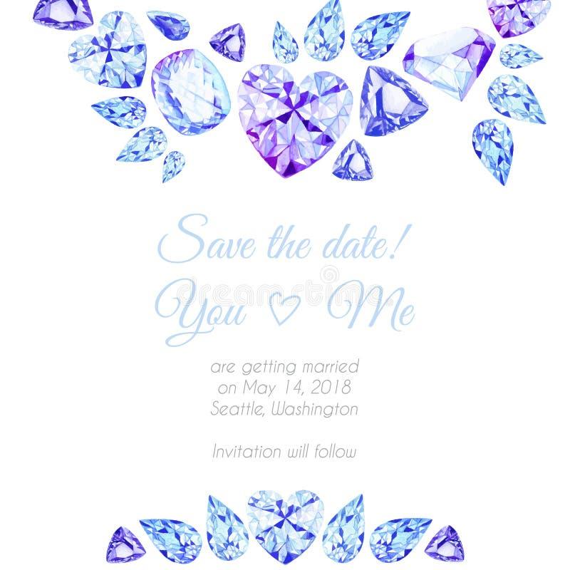 Blauw en purper vector het ontwerpkader van de diamantenwaterverf