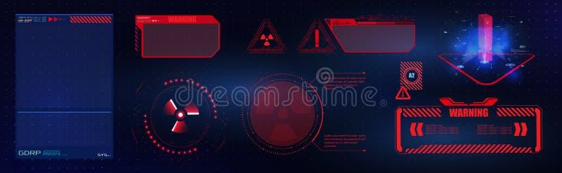 Blauw en rood futuristisch kader op moderne HUD-stijlachtergrond Het abstracte technologie van de communicatie concept ontwerpinn royalty-vrije illustratie
