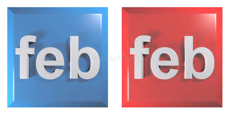 Blauw en rood paar van vierkante drukknoppen FEBRUARI - 3D teruggevende illustratie royalty-vrije illustratie
