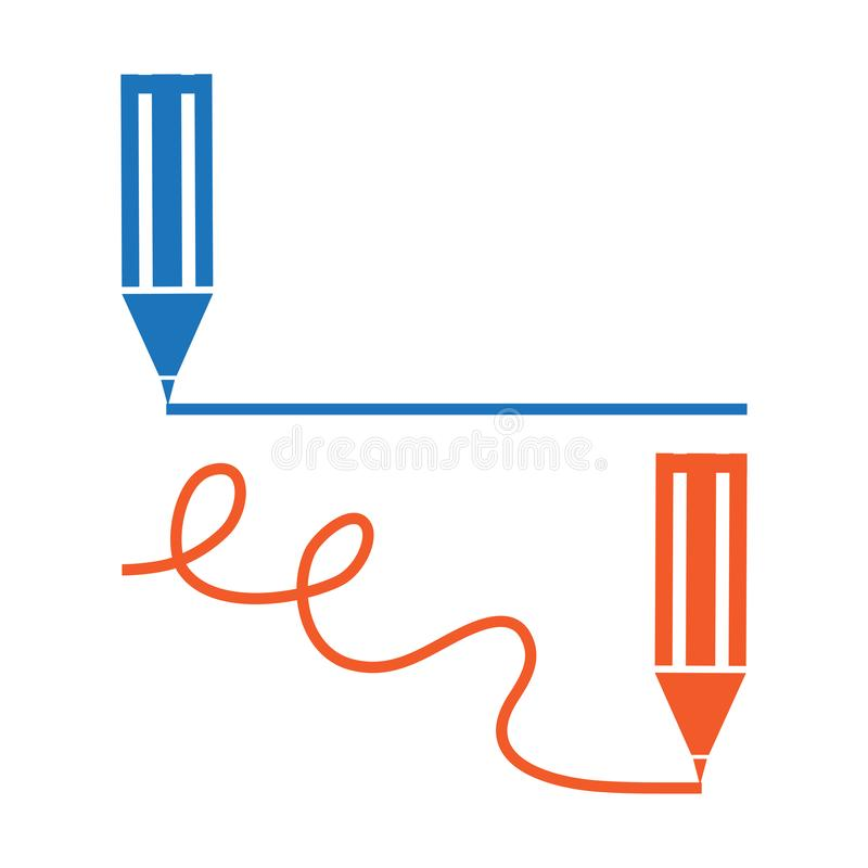 Blauw en rood pen of potlood of tellers minimaal pictogram De potloden trekt en buigt rechtstreeks lijnen Vector royalty-vrije illustratie