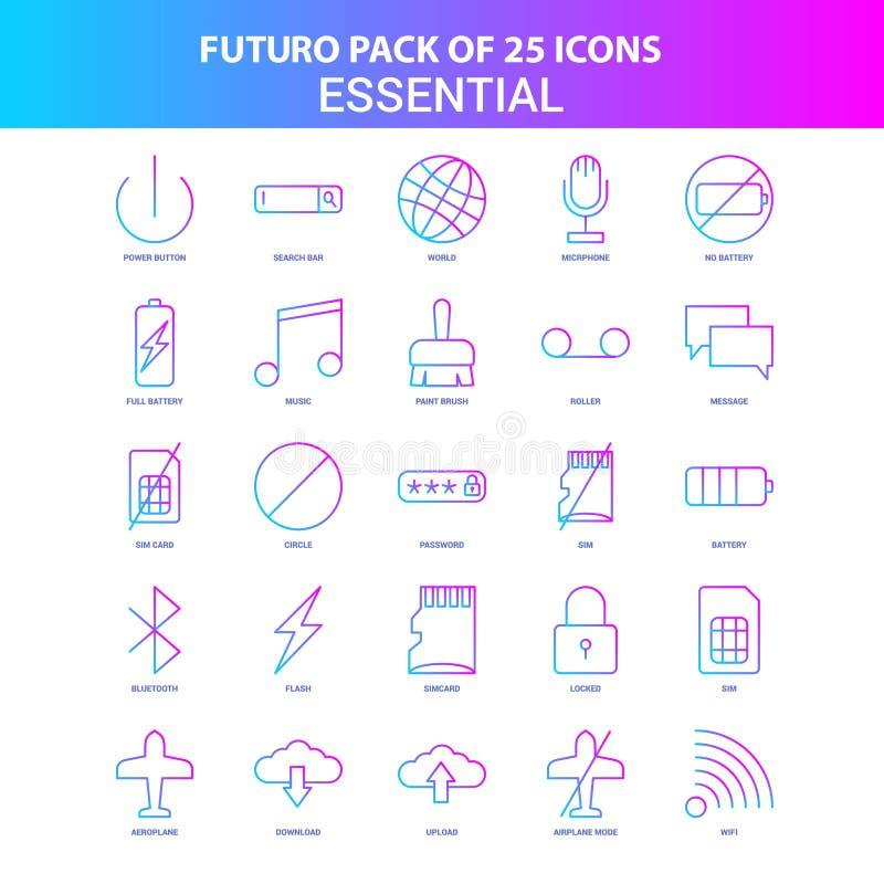 25 Blauw en Roze Essentieel het Pictogrampak van Futuro stock illustratie