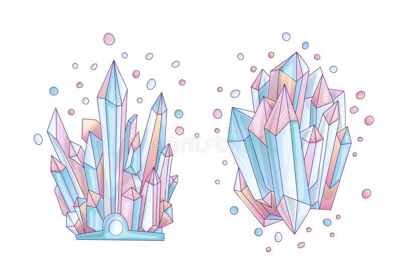 Blauw en roze kristal, illustratie van het beeldverhaal de leuke vectorkwarts Kwartskristal druse, roze prinseskorrel op wit vector illustratie