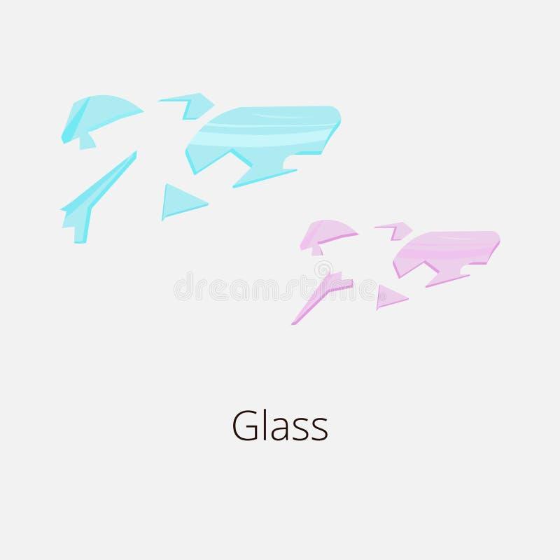 Blauw en roze stuk van gebroken glas stock illustratie
