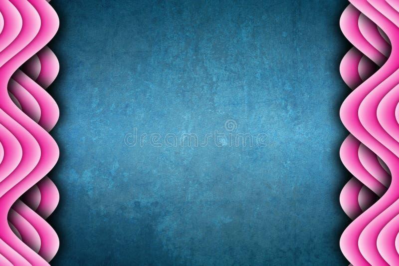 Blauw en Roze Uniek Golven Abstract Ontwerp Als achtergrond royalty-vrije illustratie