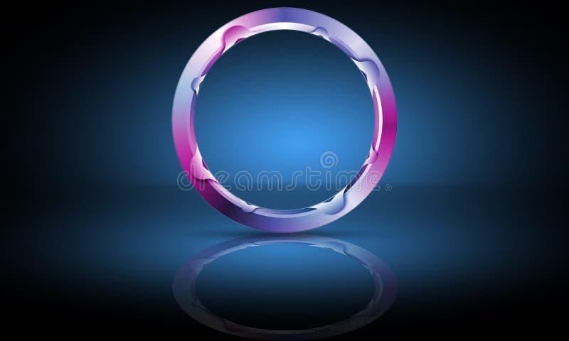 Blauw en vioolneonmetaal-ronde poort, frame, cirkel, kopieerruimte, abstracte 3D-renderende illustratie-achtergrond stock illustratie