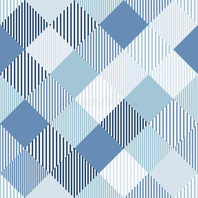 Blauw en wit abstract eenvoudig controleurs gestreept geometrisch naadloos patroon, vector vector illustratie