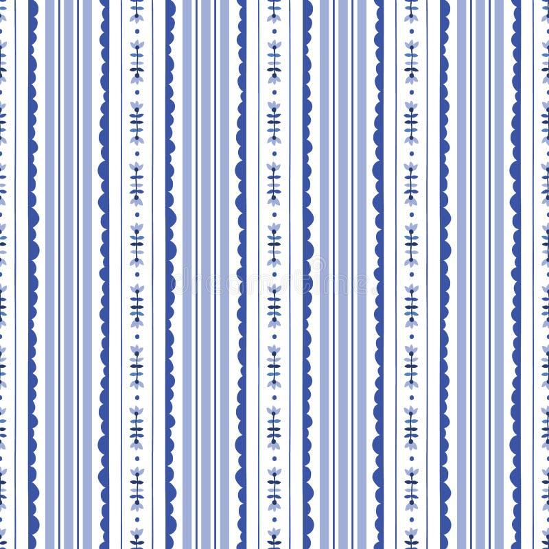 Blauw en Wit Bloemenstrepen Vector Naadloos Patroon Als achtergrond Modern Klassiek Geometrisch patroon Zwart-wit bloemen royalty-vrije illustratie