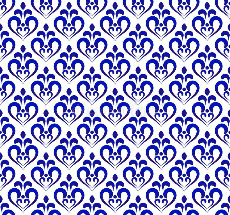 Blauw en wit damastpatroon stock illustratie