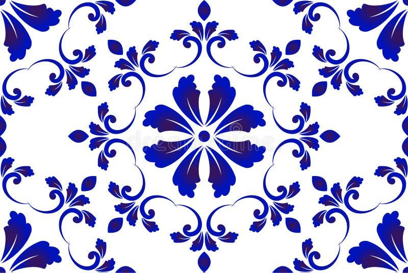 Blauw en wit decoratief patroon royalty-vrije illustratie
