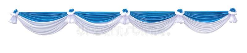 Blauw en wit die stoffengordijn voor stadium of achtergrondachtergrond op wit, het knippen weg wordt geïsoleerd stock fotografie