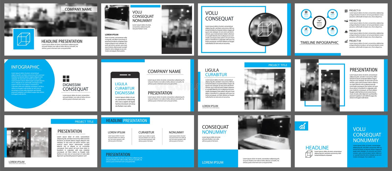 Blauw en wit element voor dia infographic op achtergrond pres royalty-vrije illustratie