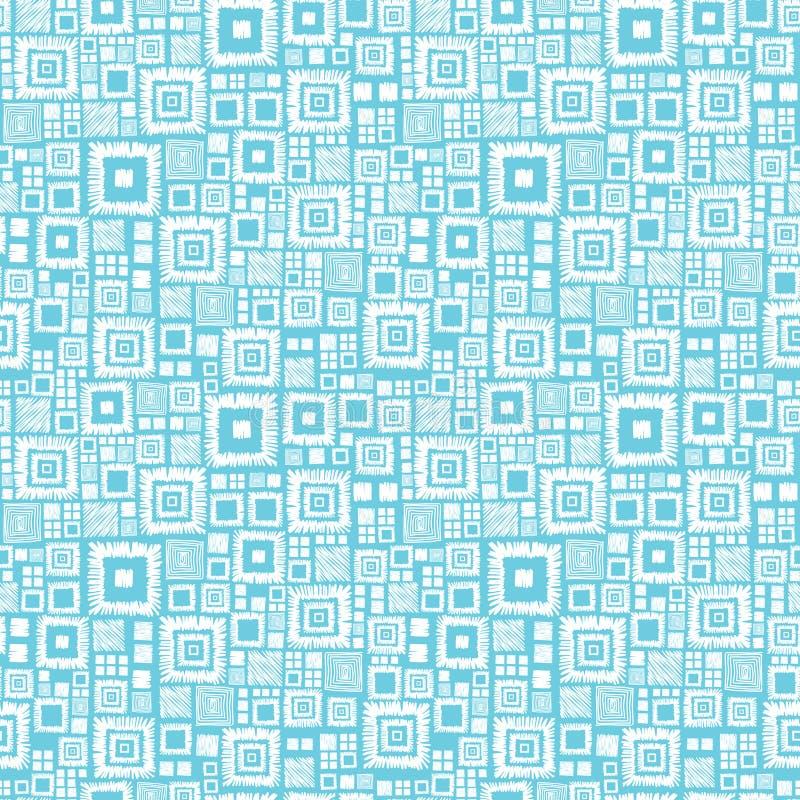 Blauw en wit geometrisch vierkanten naadloos patroon vector illustratie