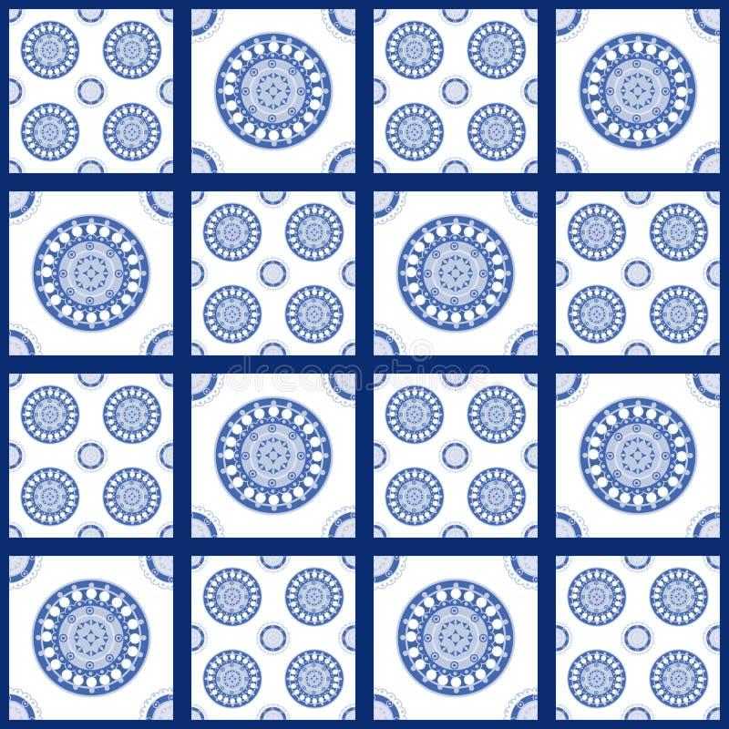 Blauw en wit naadloos patroon voor ceramisch, porselein, chinaware royalty-vrije illustratie