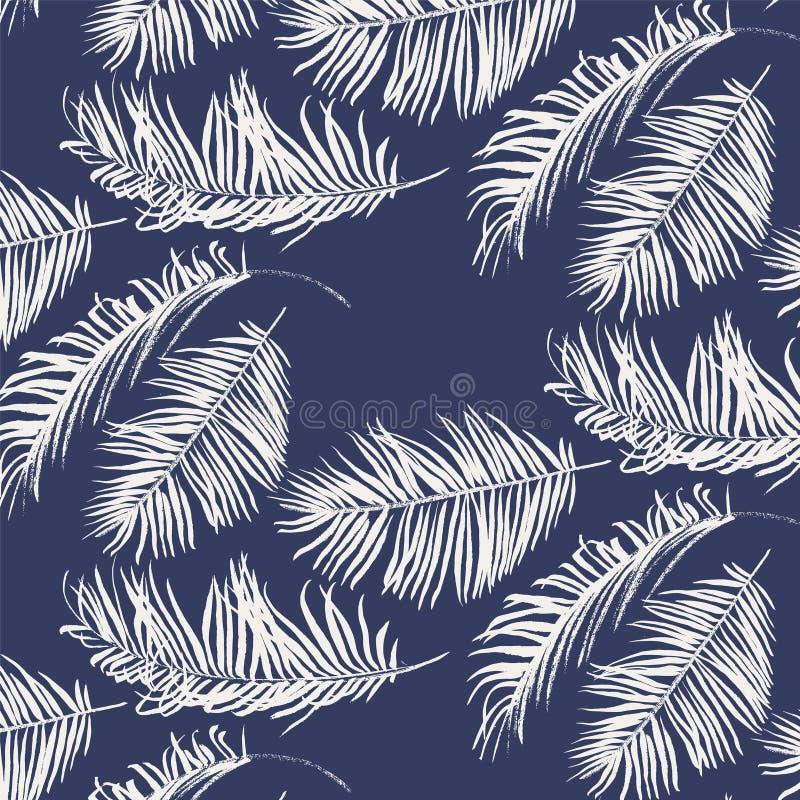 Blauw en wit palmbladenpatroon royalty-vrije illustratie