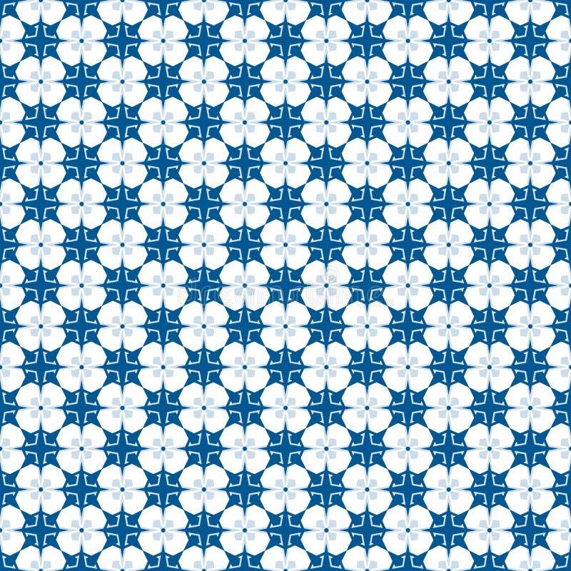 Blauw en wit sterrig naadloos patroon royalty-vrije stock fotografie