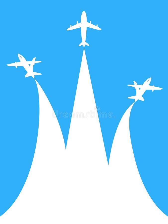 Blauw en wit vliegtuig met exemplaar ruimteachtergrond stock illustratie