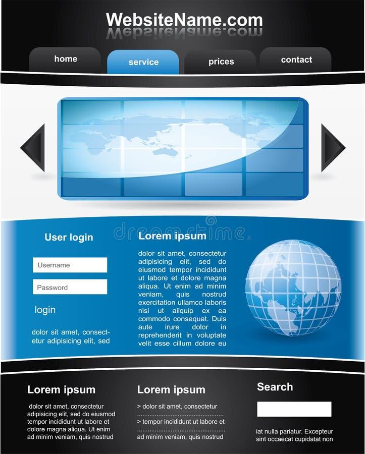 Blauw en zwart editable websitemalplaatje royalty-vrije illustratie
