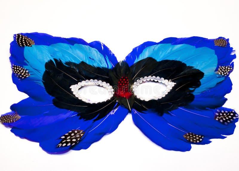 Blauw en Zwart Veermasker royalty-vrije stock afbeeldingen