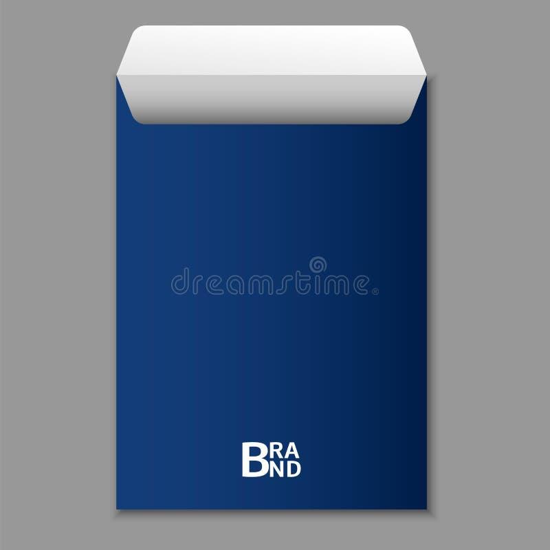 A4 blauw enveloppictogram, realistische stijl stock illustratie