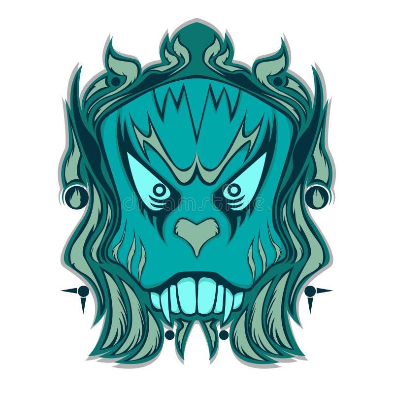 Blauw Etnisch Been Hoofdontwerp royalty-vrije illustratie