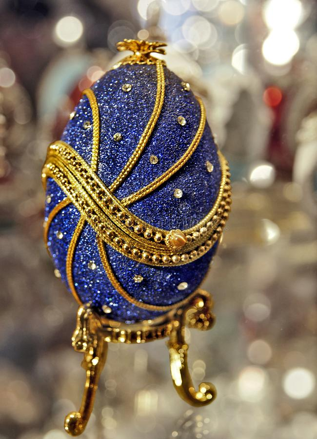 Blauw Faberge-eiclose-up stock afbeelding