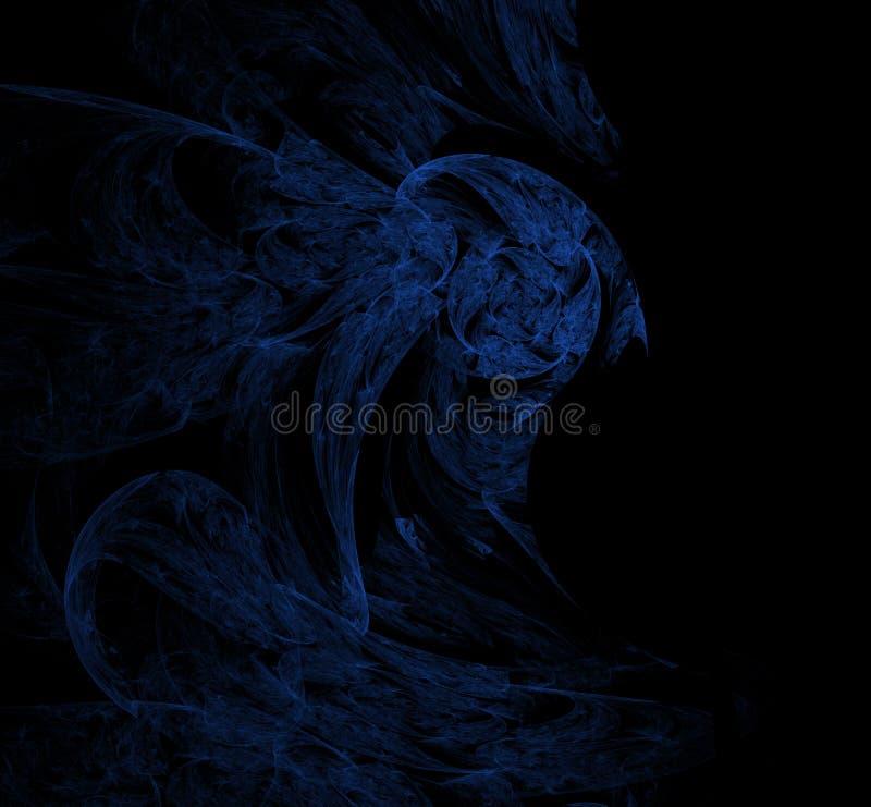 Blauw fractal patroon op zwarte achtergrond Digitaal art het 3d teruggeven Computer geproduceerd beeld stock illustratie