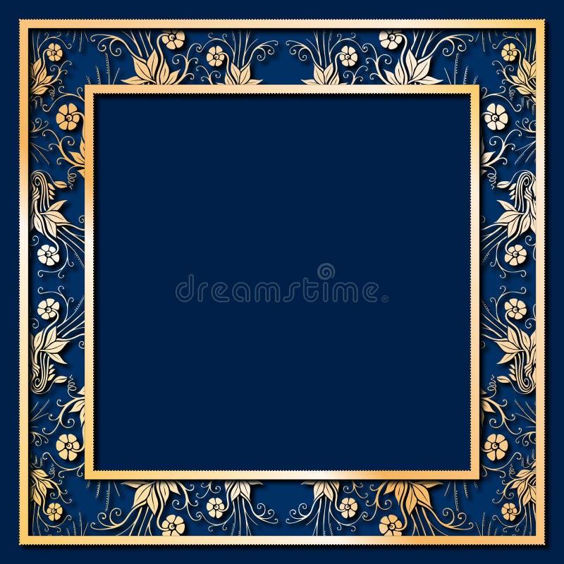 Blauw Frame met gouden Bloemen stock illustratie