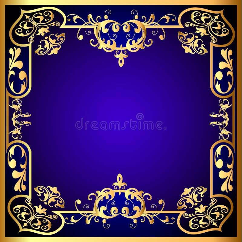 Blauw frame met plantaardig gouden (Engels) patroon royalty-vrije illustratie