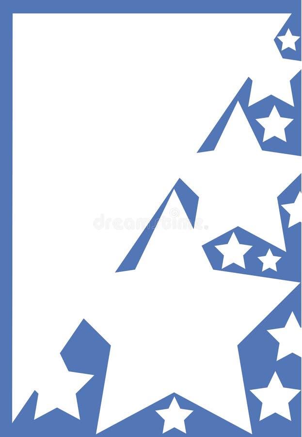 Blauw frame met witte sterren stock illustratie