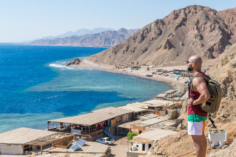 Blauw gat, Dahab, Sinai, Rode Overzees, Egypte stock afbeelding