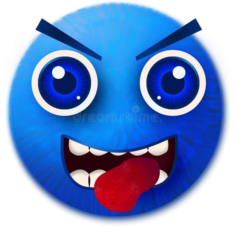 Blauw geïsoleerd smileybont vector illustratie