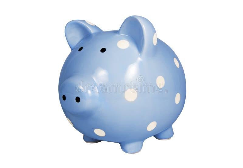 Blauw Geïsoleerd Spaarvarken royalty-vrije stock afbeeldingen