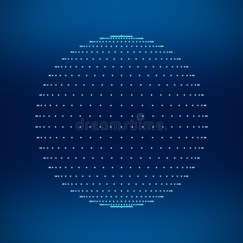 Blauw gebied Netwerkverbindingen met punten op zwarte achtergrond stock illustratie